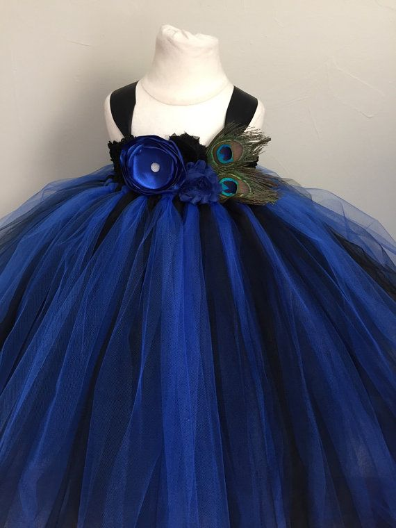 Black and blue girls peacock dress, girls peacock tulle dress, peacock flower girl dress, peacock wedding