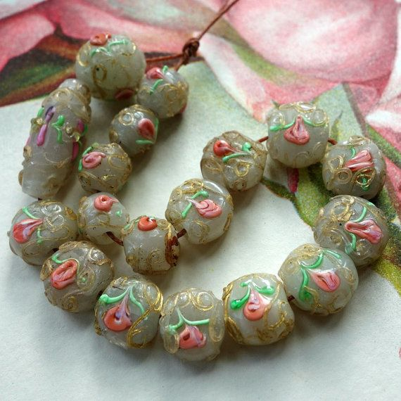 Venetian Wedding Beads Gold Trailiing Pink Roses White Antique Glass