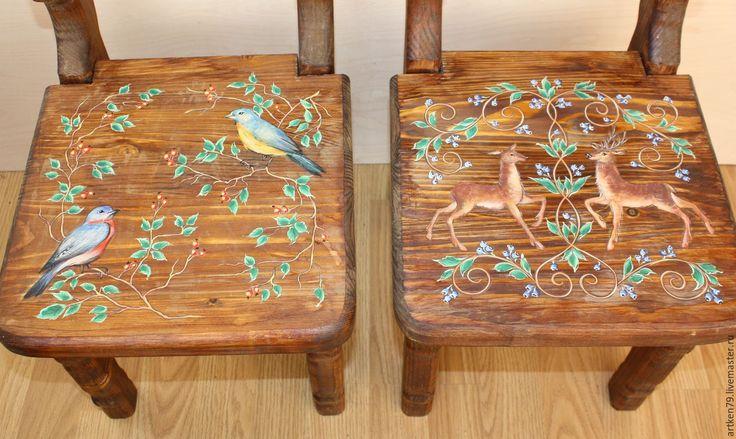 Купить Детские стульчики Олени и Птицы - комбинированный, детская мебель, расписная мебель, Деревянный стульчик