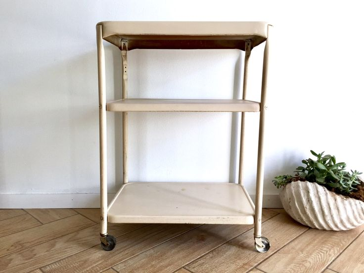 Industrial Metal Cart / 3 Tiered Rusty + Chippy Cream Painted Metal Utility Rolling Cart / Off White Metal Medical Cart / Chippy Bar Cart by ShopRachaels on Etsy https://www.etsy.com/listing/498173432/industrial-metal-cart-3-tiered-rusty