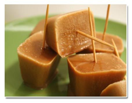 Caramel espresso ice cubes for ice coffee.