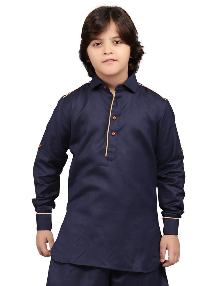 G3 Exclusive Cotton Plain Festive Wear Navy Short Pathani