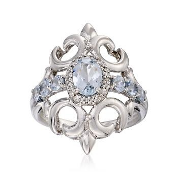 1.10 ct. t.w. Aquamarine Ring With Diamonds In Sterling Silver