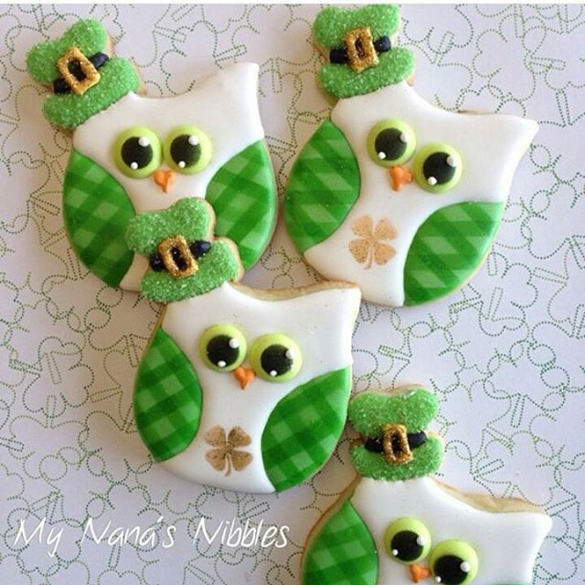 Adorable Owl cookies for Saint Patrick's Day!! Cookies by @mynanasnibbles #cookies