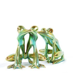 """Pair Zsolnay green Eosin iridescent frogs.  Both stamped in gold underneath.  6 1/4"""" tall.  Small glaze rub behind one eye to one.  Crazing underneath."""