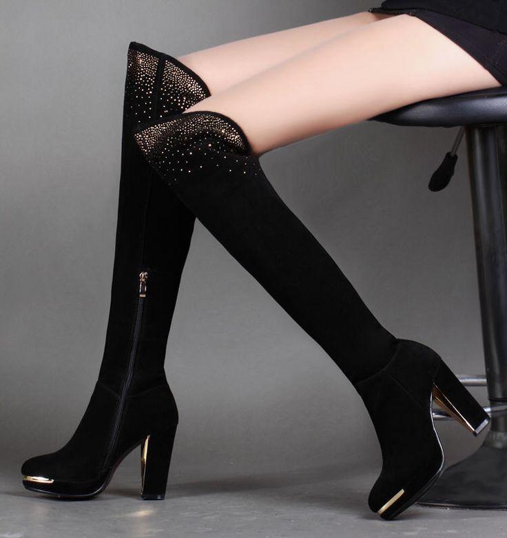 Женские осенние и зимние сапоги на высоком каблуке более-колено сапоги женские круглый носок коровьей толстый каблук стороны молнии высокие сапоги рыцаря H1845
