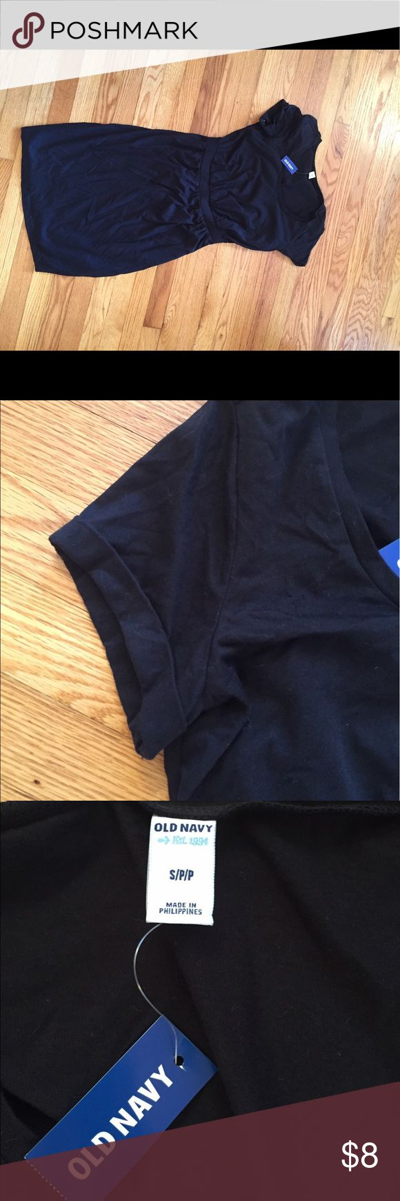 """Solid black dress Old navy solid black dress. BNWT. Cuff detail on sleeve and """"belted"""" at the waist. Old Navy Dresses"""