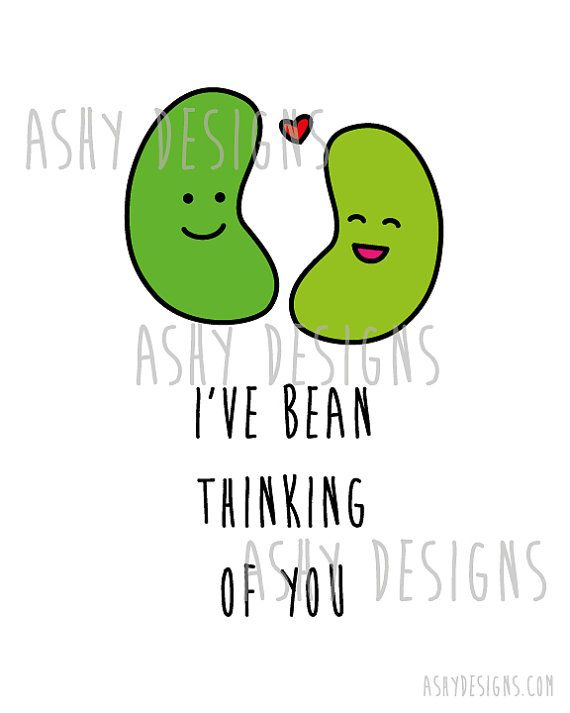 I'VE BEAN THINKING Of You 8x10 Fruit Veggie Pun by AshyDesigns