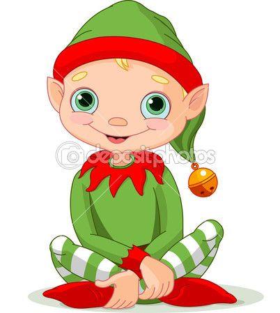 Ilustración de sentarse lindo elfo de Navidad