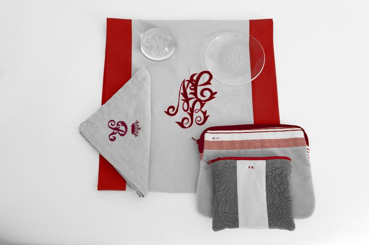 MarinaC - monograms make everything just so special! - runner, napkin, I-pad cover  just for you - shop.marinac.it #marinacmilano
