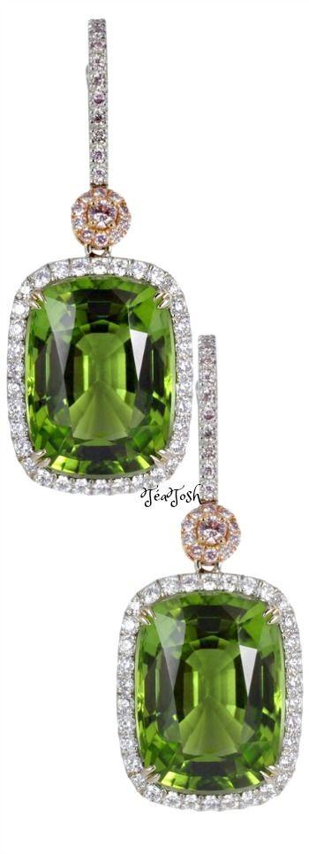 ❇Téa Tosh❇ 19.73 Carat Peridot and Pink Diamond Drop Earrings