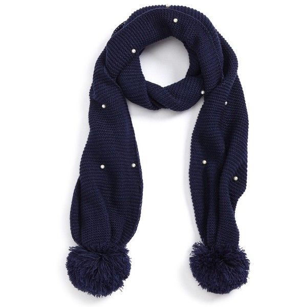 Women's Bp. Imitation Pearl Pompom Scarf (255 MXN) ❤ liked on Polyvore featuring accessories, scarves, navy, navy blue scarves, beaded scarves, navy scarves, navy shawl and beaded shawl