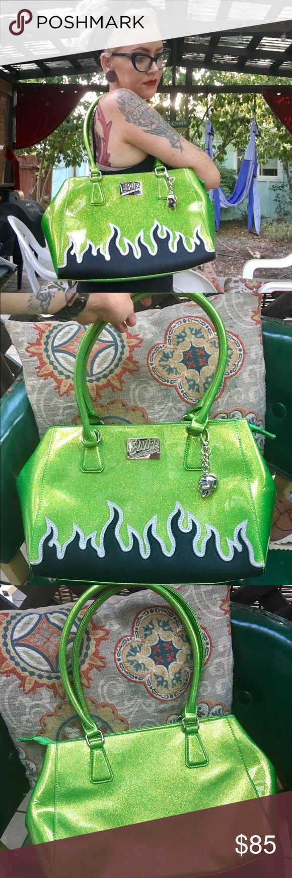 Lux De Ville Elvira Darling Diablo tote bag NEVER USED. So amazing I won't be sad if I have to keep it! No stains, scrapes, or negative marks. SPOTLESS. Lime green with gold glitter. Black matte flames with silver glitter outlines. Gorgeous! Bags Totes