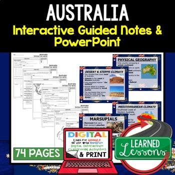 Australia, Antarctica Guided Notes and PowerPoints, World Geography ➤World Geography Guided Notes, Interactive Notebook, Note Taking, PowerPoints, Anticipatory Guides These interactive guided notes and PowerPoints are great for