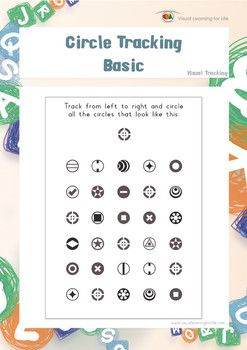 """In the """"Circle Tracking Basic"""" worksheets, the student must find all the triangles that look the same as the example at the top of the page.  The student must focus on the circle that is highlighted in the instruction within the busy field of all the other surrounding circles as they scan the rows. The student's eyes must move from left to right along each row (not deviate up or down).  Available at www.visuallearningforlife.com on the Visual Tracking Skills Builder CD."""