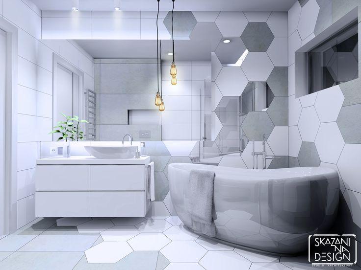 Łazienka w domu jednorodzinnym w Gliwicach, płytki heksagonalne, wersja 2