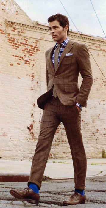 Custom brown window pane tweed suit from Hickey Freeman.