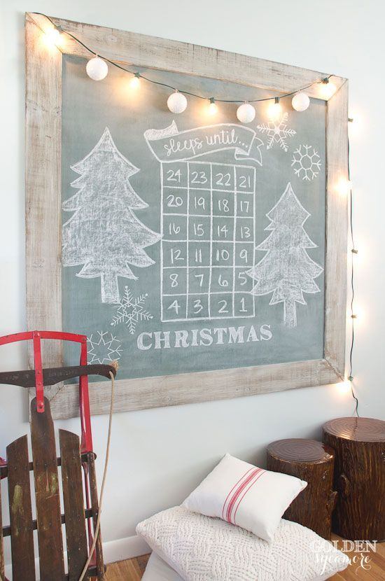 Sleeps until Christmas large vintage green chalkboard