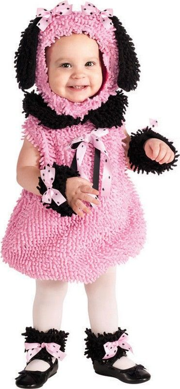 Pink Poodle Girl Costume for Infants $27.48 Adorable fuzzy poodle Halloween outfit for baby girls. Pink fuzzy poodle jumper, headpiece, wrist cuffs and ankle cuffs. Headpiece has floppy black ears and pink polka dot bows. Cuffs and jumper also feature matching bows. Infants Halloween Costumes