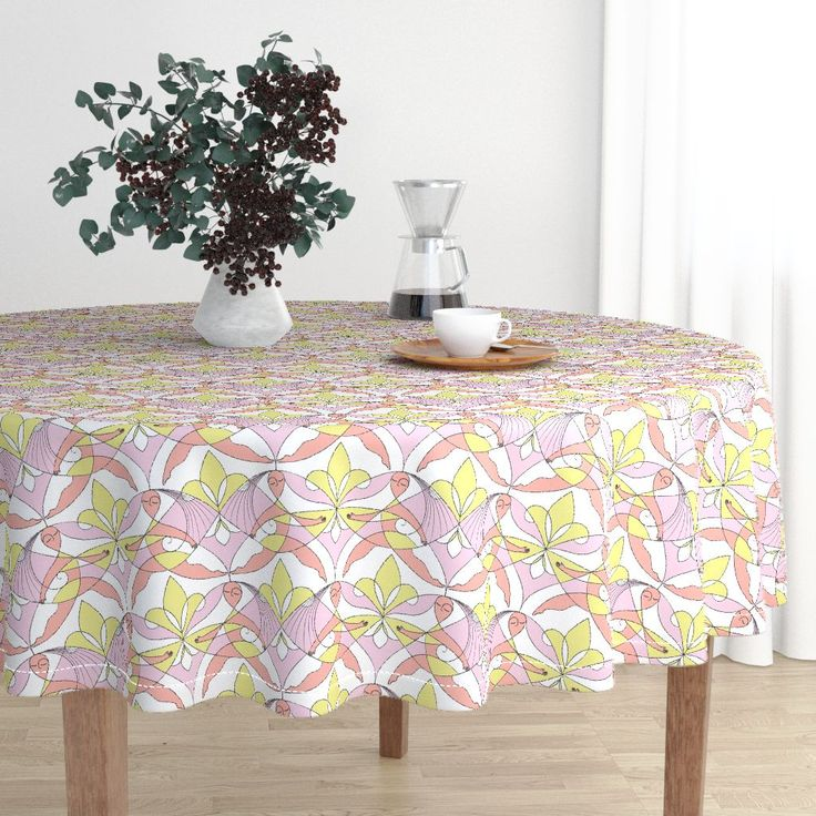 Interwoven XX_Cherry Blossom on Malay by mia_valdez | Roostery Home Decor  #InterwovenXX #Woman #Girls #Cubism #summertime #Ladies #homedecor #beach #girly #Sisterhood #Lis #Flower #Pink #Cherry #Mia #roosteryhome #Malay #Round #Tablecloth @Roosteryhome