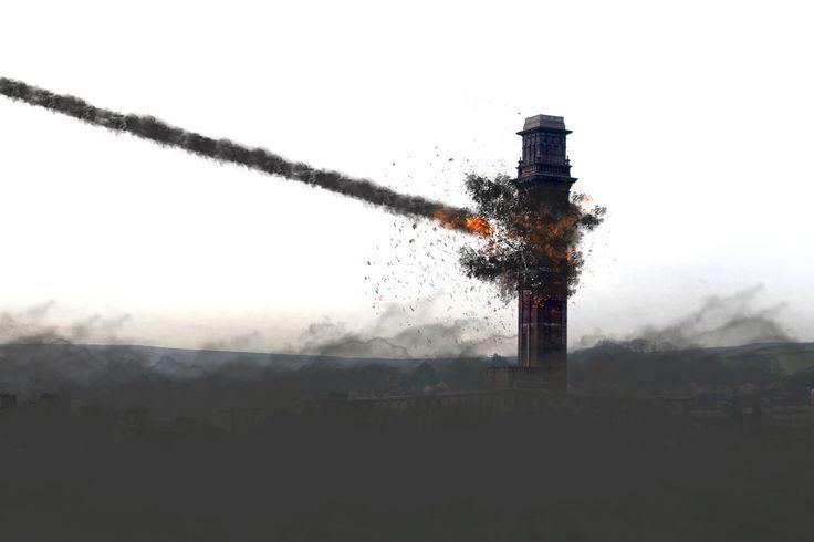 destruction in Darwen local mill in Darwen destroyed in apocalyptic meteor shower.