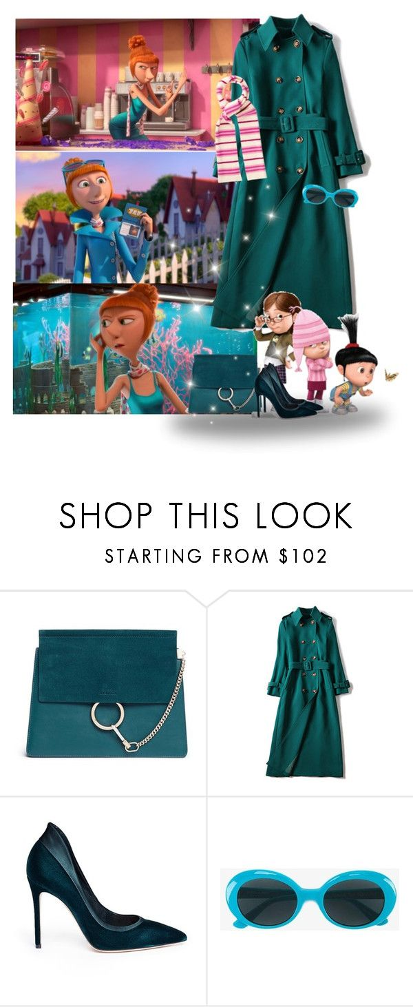 """Lucy Wilde from Despicable Me 2"" by priscilla12 ❤ liked on Polyvore featuring Despicable Me, Chloé, Gianvito Rossi, Yves Saint Laurent and Burberry"