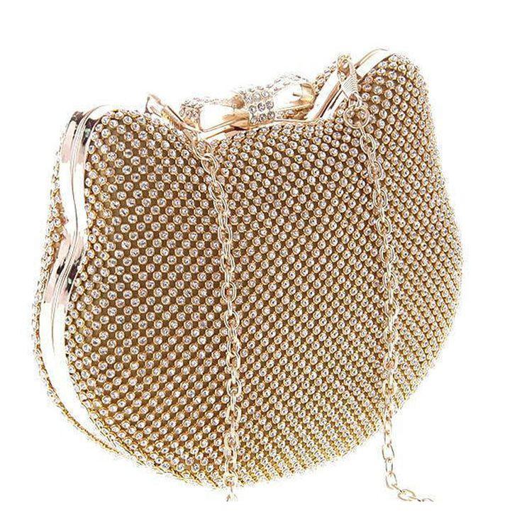 Fashion Luxury Diamond Silver Evening Bags Cat Head Gold Rhinestone Clutch Bow Knot crystal purse glitter bolsa feminina 1272-in Evening Bags from Luggage & Bags on Aliexpress.com | Alibaba Group
