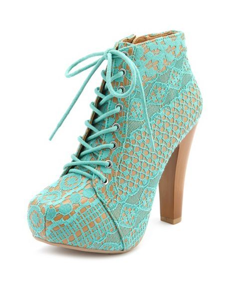 Vintage Lace Lace-Up Heel Bootie: Charlotte Russe. ILOVETHESEMORETHANLIFEITSELF