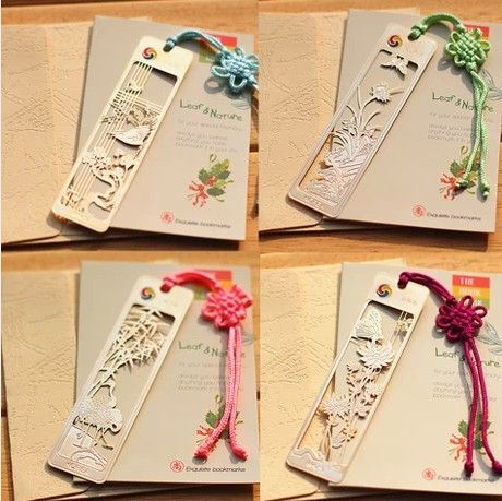 4 styles creative Simple 18k Gold plated classical Chinese style plum blossoms orchid bamboo chrysanthemum bookmark return gift