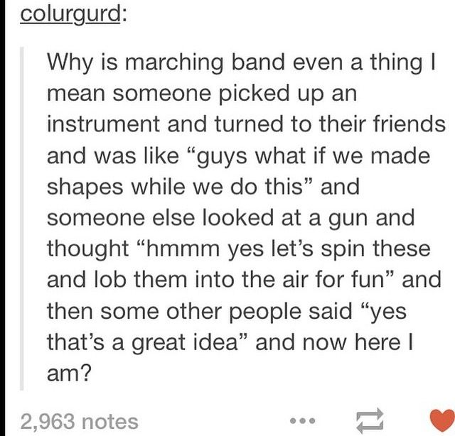 The epiphany of marching band for you