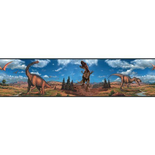 RoomMates RMK1042BCS Dinosaurs Peel & Stick Border by RoomMates. $11.46. From the Manufacturer                The jurassic age is here. This is a gorgeous, yet fun and educational peel and stick border featuring realistic and beautifully painted dinosaurs that will plunge your room back to a time when these impressive animals walked the earth. Great for classrooms too. Do not forget to get the matching appliques as well as the giant t-rex (sold separately) to complement...