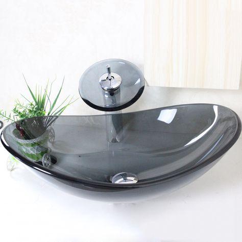 Buy (EU Lager) Modern Waschbecken Oval Grau Transparent Glas Mit Wasserfall  Armatur Set With