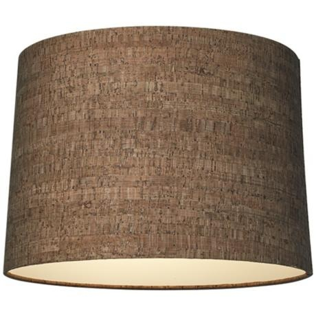 Medium Brown Washed Cork Drum 13x14x10 Lamp Shade 59 Only