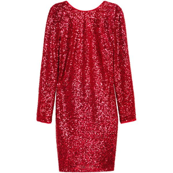 Sequined Dress $69.99 (4.525 RUB) ❤ liked on Polyvore featuring dresses, h&m, sequin dresses, red sequin dress, short red dress, sequin cocktail dresses and short dresses
