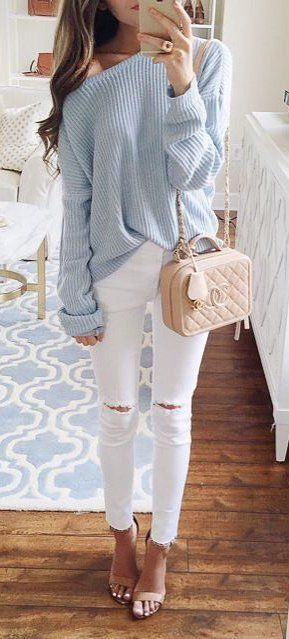 #winter #fashion /  Blue Off Shoulder Knit + Black Skinny Jeans