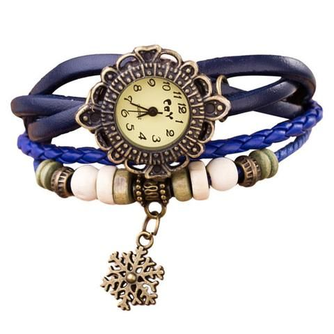 Long Leather Strap Bracelet With Snowflake Pendant Watch With 7 Variants