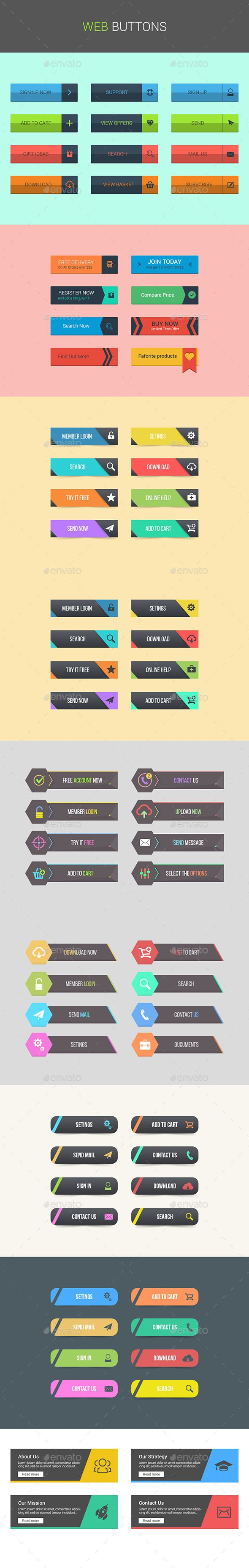 Web Buttons #design #web #elements Download: http://graphicriver.net/item/web-buttons/12650291?ref=ksioks