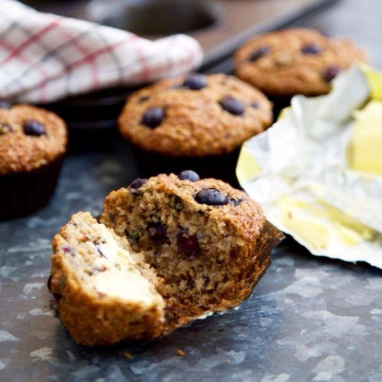 Blueberry and Banana Bran Muffins by Nadia Lim   NadiaLim.com