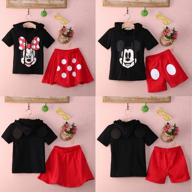 Minnie Mouse or Mickey Mouse Top+  Polka Dot Skirt or Pants. Material:CottonGender:UnisexSleeve Length:ShortClosure Type:PulloverPattern Type:Minnie or Mickey CharacterSleeve Style:RegularCollar:HoodedFree Shipping