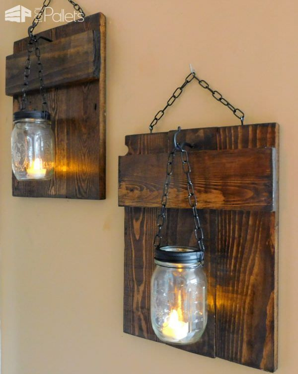 Rustic Pallet Sconces. Pallet PaintingWood IdeasPallet ...