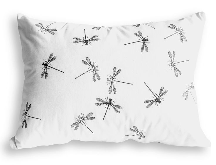 Dragonfly cushion - printed in black on off-white. Available online at www.folia.co.za  #insect #cushion #homegoods #dragonfly