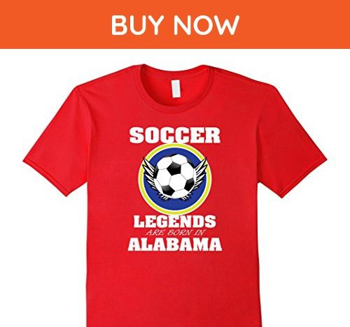 Mens Soccer Tee Shirt Legends Are Born In Alabama TShirts Small Red - Sports shirts (*Amazon Partner-Link)