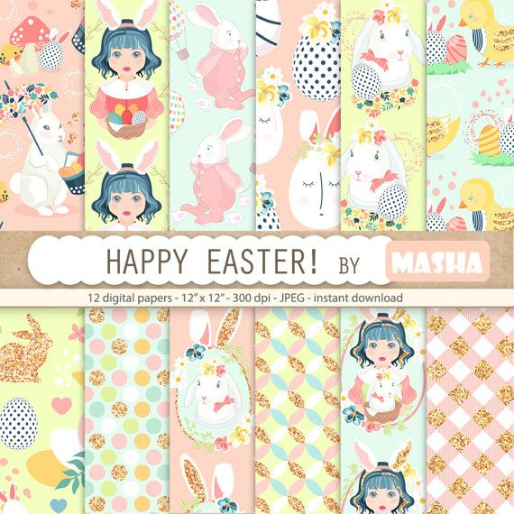 Easter digital paper: HAPPY EASTER PAPERS with by MashaStudio #easter #digital #paper #pattern #patterns #cute #papers #scrapbooking #bunny #eggs #basket #chick #colorful #gingham #glitter girl #illustration #background #images #download #sticker #supplies #planner #cover #inspiration #happy