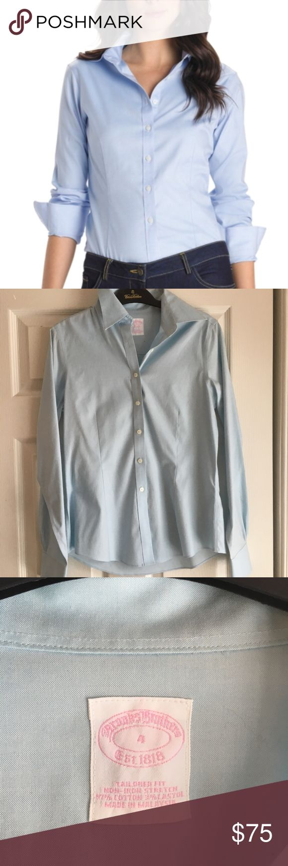 Brooks Brothers Tailored Non Iron Shirt Women's tailored non iron shirt from Brooks Brothers. Women's size 4 (small). 97% cotton with slight stretch. Machine washable. In EXCELLENT never worn condition. Offers always accepted! Brooks Brothers Tops