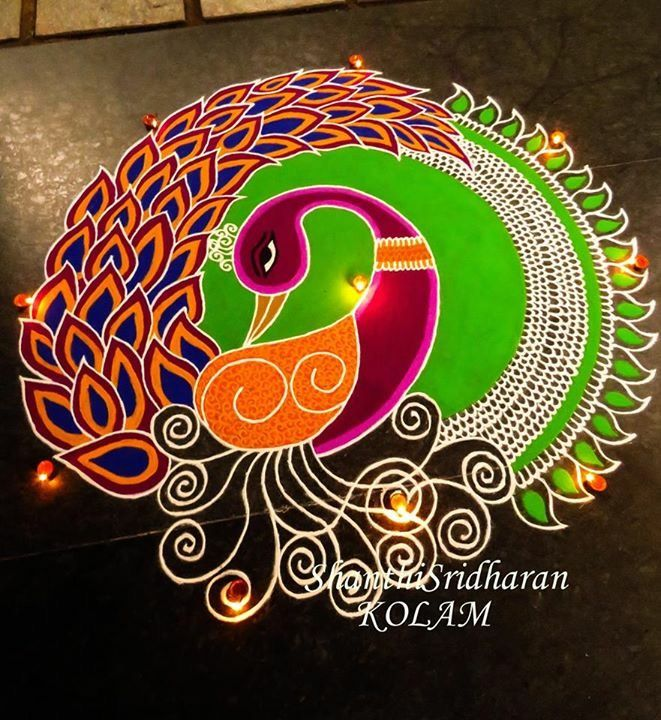 #peacock#circle#green#orange#pink#round#circle#kolam#mandala
