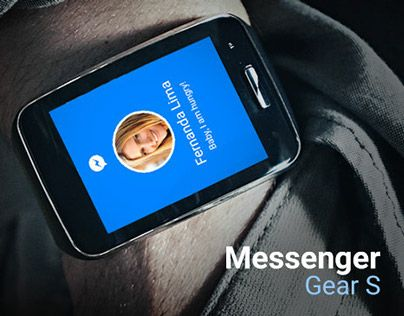 Concept Facebook Messenger app for the smartwatch Samsung Gear S.
