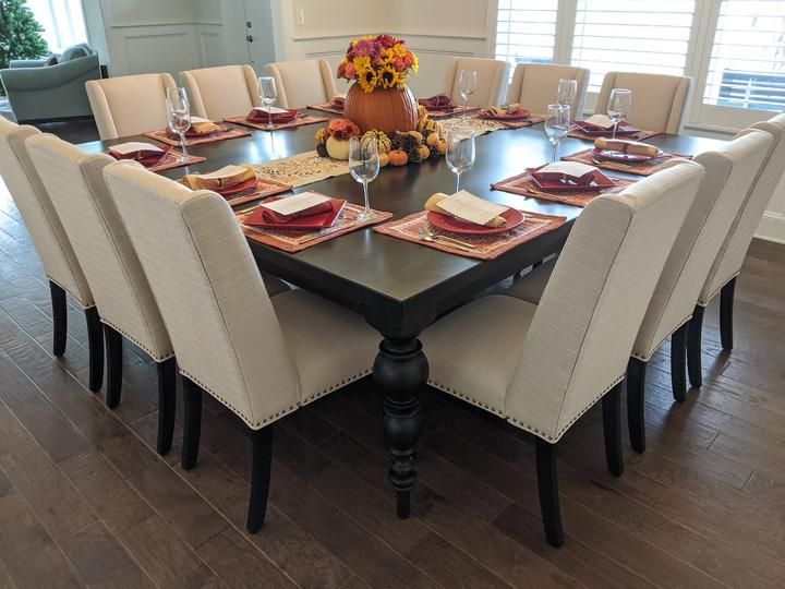 Turned Leg Square Dining Table For 12 Square Dining Room Table 12 Seat Dining Table Formal Dining Room Table