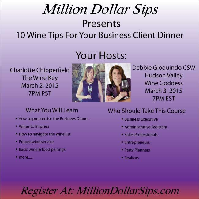 So thrilled to be partnering with Charlotte at The Wine Key to bring you Million Dollar Sips.  Our first seminar 10 Wine Tips for your Business Client Dinner.  Wine Education.  #wine #wineseminars