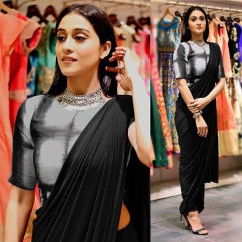 Buy stylish plain black saree from online and get ready to strut like a chic. Exclusively available at IndiaRush! #unfoldethnicfashion #casualwear #indianwear