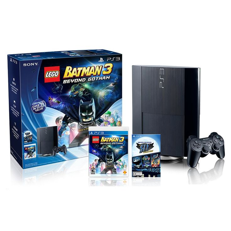 Sony Playstation 3 PS3 Bundle, 500GB with LEGO Batman 3 & The Sly Collection, Multicolor